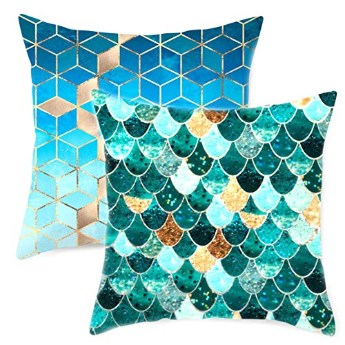 Cushion Covers 45 x 45cm Set of 2 Cotton Green Mermaid Design Throw Pillow Case for Sofa Chair Bed Room Decor 18 x 18 inch