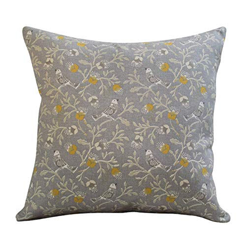 Dainty Songbird Grey Ochre Yellow Double Sided Cushion Cover. 17' x 17' Square Case. Handmade. Contemporary Vintage Style Design.