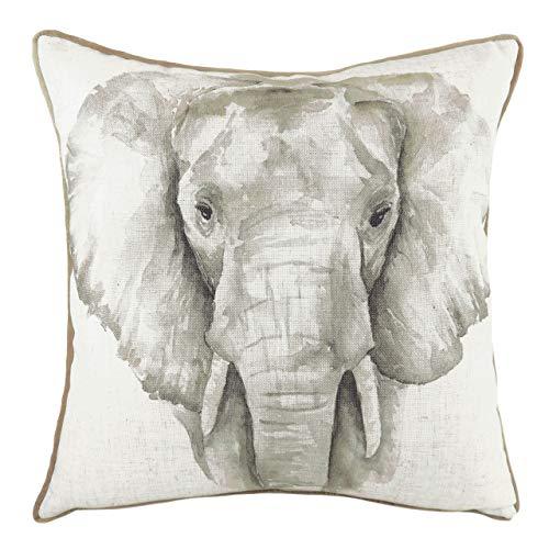 Evans Lichfield Safari Elephant Cushion Cover, White, 43 x 43cm