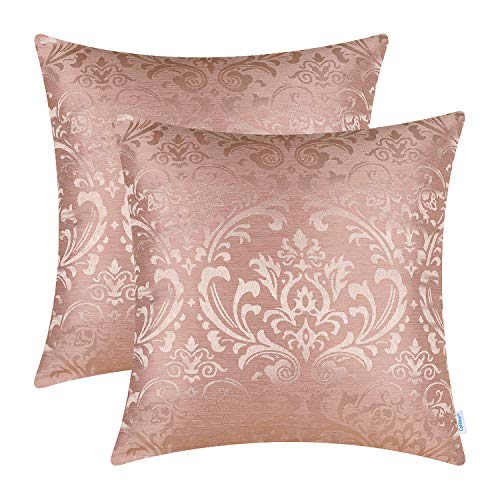 CaliTime Pack of 2 Throw Pillow Covers Cases for Couch Sofa Home Decoration Vintage Damask Floral Shining & Dull Contrast 45cm x 45cm Dusty Pink