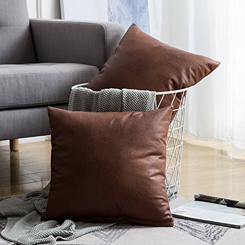 Miulee Pack of 2 Decorative Faux Leather Modern Pillow Cover Case Cushion Covers Luxury Pillowcases for Livingroom Sofa Bedroom 18x18inch 45x45cm Set of 2 Brown