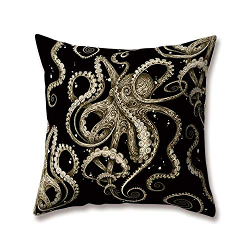 Hengjiang WEIANG Cartoon Octopus Jellyfish Cushion Covers Black White Printing 18x18/45x45cm Double-sided Throw Soft Plush Pillow Cases Home Sofa Bed Decorative
