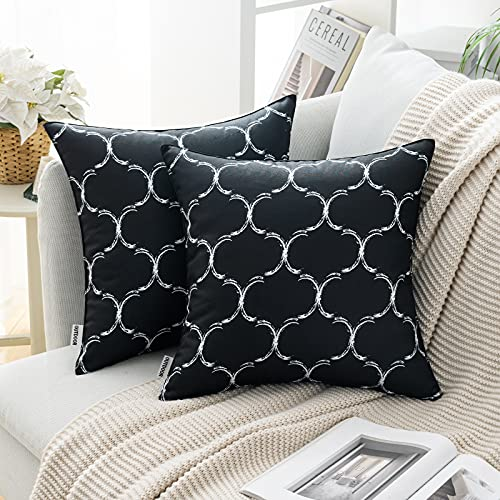 MIULEE Pack of 2 Cushion Cover Decorative Throw Pillow Cover Comfortable Modern Geometric Patterns with Polyester Pillow Case for Sofa Bed Garden Outdoor Waterproof 18 x 18 Inch 45 x 45 cm Black