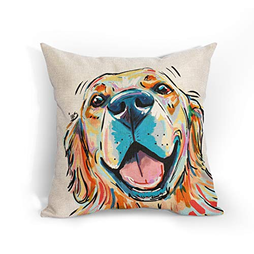 Cartoon Golden Retriever Dog Cushion Covers Watercolor Colorful Pet Dog Throw Pillow Covers Decorative Pillowcase Double Sides Pattern 18x18 for Sofa Bedroom Living Room Patio Balcony