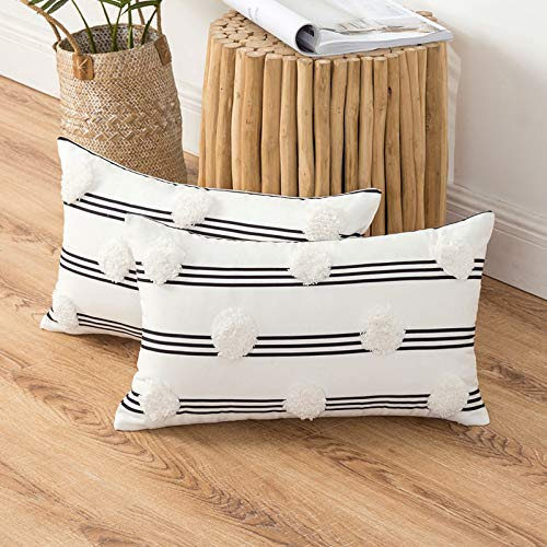MIULEE Pack of 2 Cushion Cover Throw Pillow Case Poms And Stripes Soft Decorative Home for Sofa Living Room Bedroom Black-White 30 x 50 cm 12 x 20 Inch