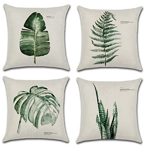 Topways® Tropical cushions Cover, Throw Pillow Case Cushion Covers Square House Sofa Pillow Cover 18 x 18 inches Tropical Plants Set of 4pcs