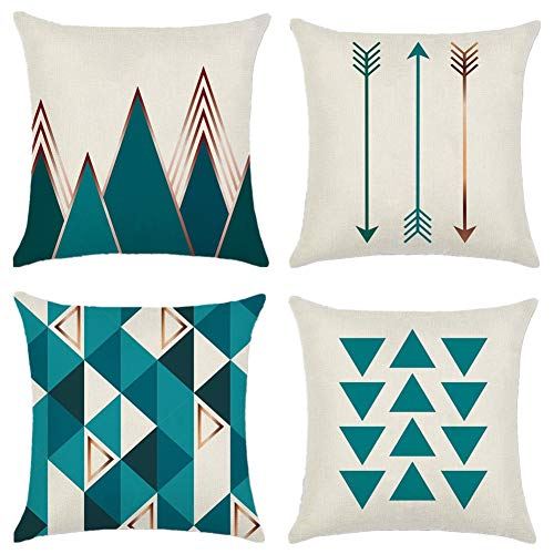 Cotton Linen Throw Pillow Covers Set of 4 Modern Simple Geometric Triangles Decorative Pillowcases 18x18inch /45x45cm Square Pillow Cases Pillow Protectors Printed Cushion Cover for Home Decorative