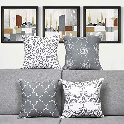 TOMMO Cushion covers 50x50cm Modern Decorative Throw Pillow Covers Cushion Case for Room Bedroom Room Sofa Chair Car, Grey and White, 20 x 20 Inch