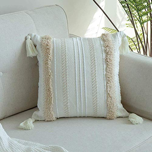MeMoreCool Tufted Boho Cushion Cover, 45x45CM Decorative Throw Pillow Cover with Tassel Square Woven Pillowcases for Couch Sofa Bedroom Livingroom Garden Chair (Yellowy Cream)