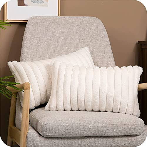 Topfinel Faux Fur Cushion Cover Striped Throw Fluffy Soft Decorative Square Pillow Covers Plush Case Faux Fur Pillowcase For Livingroom Sofa Bedroom Pack of 2 Cream 12x20 Inch 30x50 cm