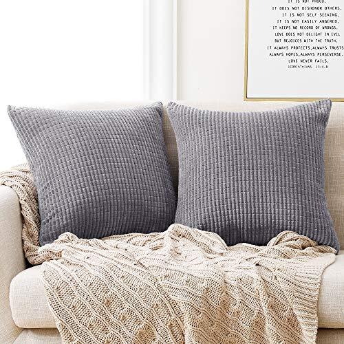 Deconovo Set of 2 Super Soft Corduroy Grey Cushion Covers 50cm x 50cm, 20x20 Inches Grid Throw Pillow Cases, Square Pillowcases Cushion Covers for Sofa Bedroom, Light Grey