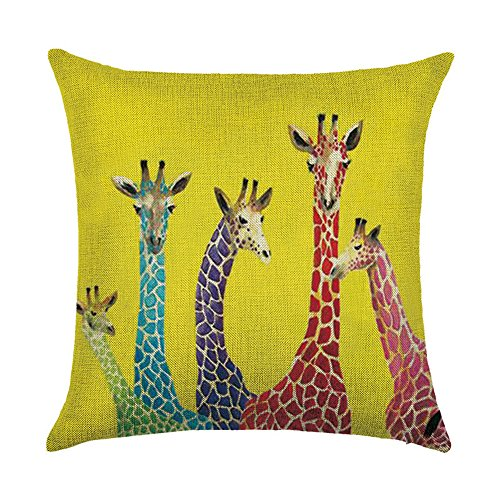 WEIANG Giraffe Elk Deer Nordic Geometric Animal Cushion Covers Thick Cotton Linen Double-sided Pillow Case Cushion For Home Chair Sofa Bed Shop Bar Club Car Office Decor