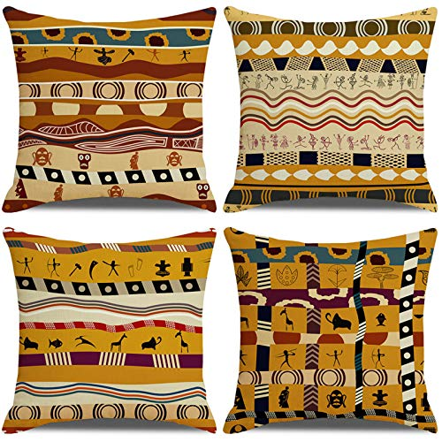 LAXEUYO Pack of 4 cushion covers 18x18, Ancient African Ethnic Style Pattern Cotton Linen Decorative Throw Pillow Covers Pillow Cases for Sofa
