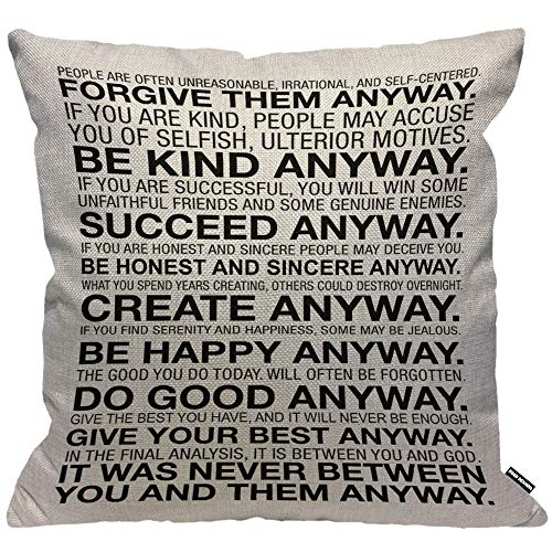 HGOD DESIGNS Cushion Cover Mother Teresa Anyway Quote,Throw Pillow Case Home Decorative for Men/Women Living Room Bedroom Sofa Chair 18X18 Inch Pillowcase 45X45cm