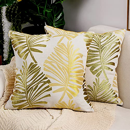 Btyrle Cushion Covers Pack of 2 Decorative Velvet Throw Pillow Cover Soft Pillowcases with Invisible Zipper for Sofa and Couch 45x45cm 18x18 Inch Yellow