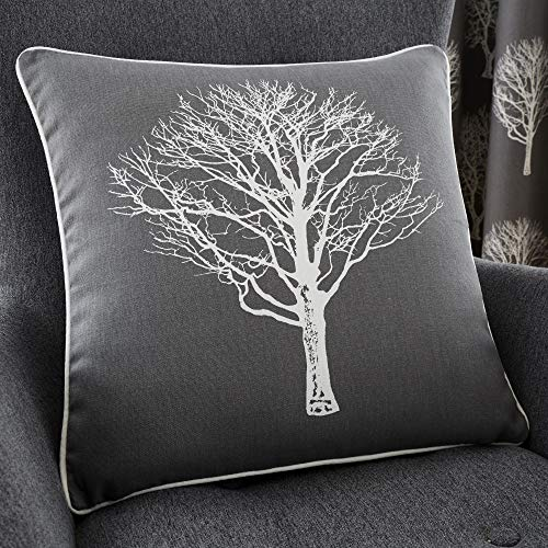 Fusion - Woodland Trees - 100% Cotton Cushion Cover - 43x43 cm in Charcoal