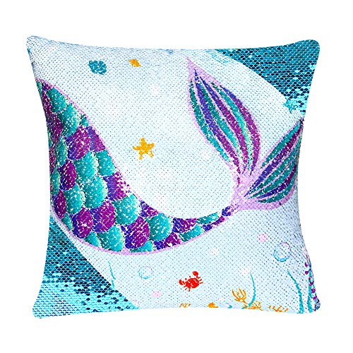 WERNNSAI Sequins Mermaid Pillow Cases - 40 x 40cm Blue Mermaid Decorative Cushion Covers Zipper Throw Pillow Covers for Sofa Chair Bed Car(NO Pillow Inserts)