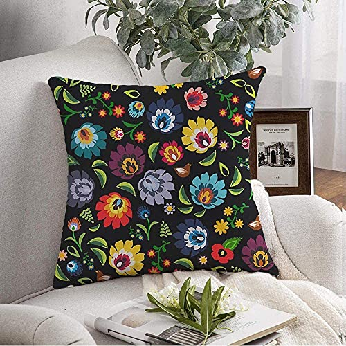 Pillow Covers Case Cozy Colorful Black Traditional Polish Folk Floral Pattern Slavic Green Color Poland Old Cutout Drawing Throw Pillow Cushion Cover for Couch Sofa Home Decoration,18'x18'