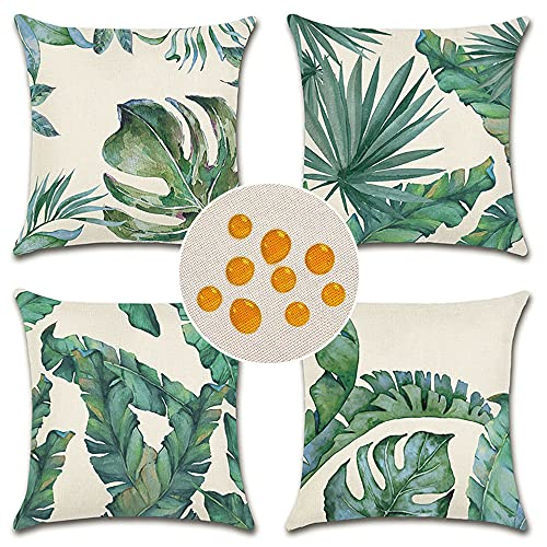 Artscope Set of 4 Decorative Cushion Covers 45x45cm, Tropical Plants Waterproof Throw Pillow Covers, Perfect to Outdoor Patio Garden Bench Living Room Sofa Farmhouse Decor