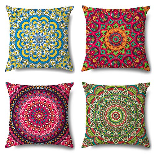 Artscope Cozy Cushion Covers, Pack of 4 Soft Velvet Mandala Dahlia Print Pattern Decorative Throw Pillow Covers Cases for Sofa Couch Bedroom Living Room Home Decor 45x45CM