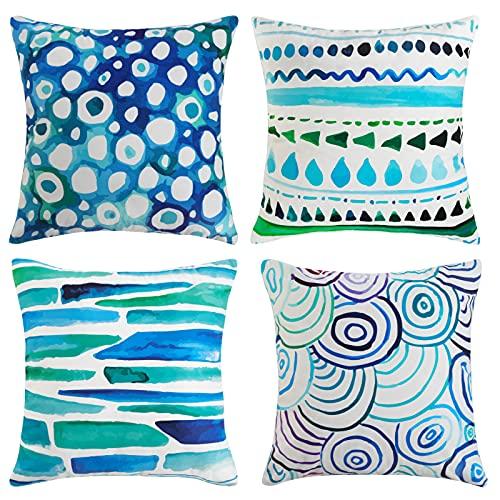 Cushion Covers 45cm x 45cm Outdoor Pillow Covers Decorative Square Throw Pillow Case Home Boho Velvet Pillowcases for Home Bed Sofa Garden Furniture Decor Set of 4,Blue Geometric