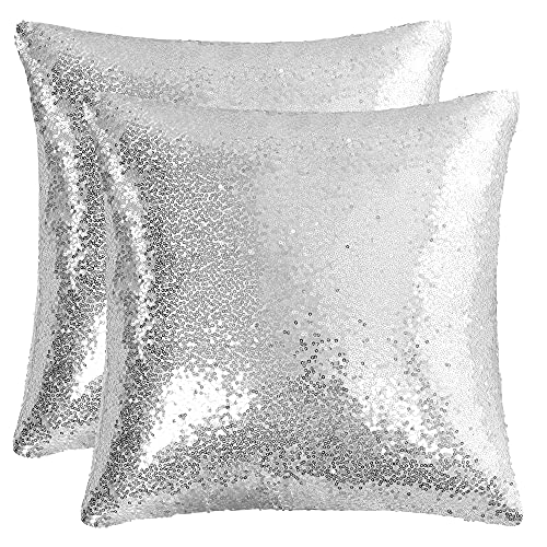 sourcing map 2 Pcs Sequin Throw Pillow Covers, Shiny Sparkling Comfy Satin Cushion Covers, Decorative Pillowcases for Party/Christmas/Thanksgiving/New Year, 40x40 cm, Silver Tone