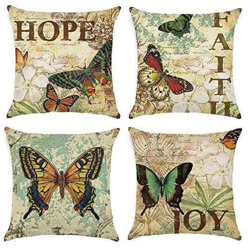 Freeas Cushion Covers Set of 4 Multi Butterfly Pattern Square Throw Pillow Case for Sofa Bedroom Car 18 x 18 Inch / 45x 45cm
