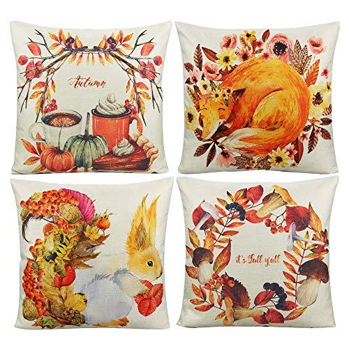 VAKADO Autumn Farmhouse Decorative Cushion Covers Orange Fall Theme Leaves Pumpkin Fox Squirrel Cushion Cases Outdoor Home Decor for Thanksgiving Couch Sofa Patio 18x18 Set of 4