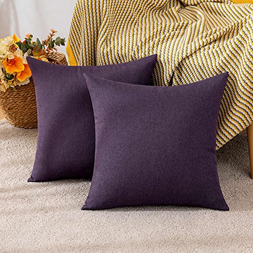 MIULEE Cushion Covers 18x18 Inches Set of 2 Decorative Throw Pillow Covers for Furniture Patio Couch Sofa Bed Linen Balcony Outside Cushions for Waterproof Garden, 45x45 cm Eggplant Purple