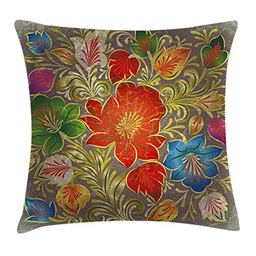 Abstract Throw Pillow Cushion Cover, Grunge Greyscale Background with Ethnic Floral Flowers Leaves Image, Decorative Square Accent Pillow Case, 28 X 28 Inches, Red Teal and Olive Green