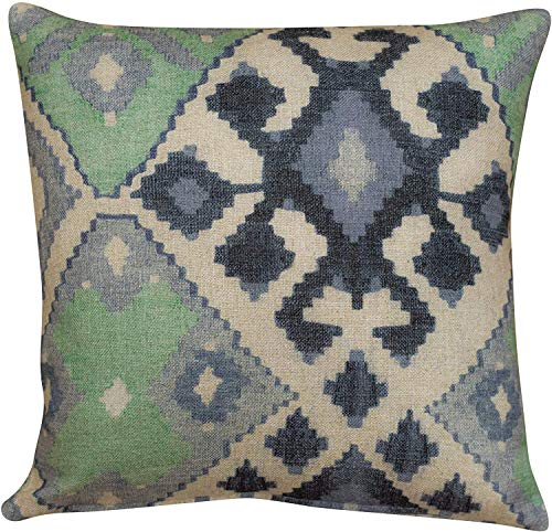 Jade Green and Blue Kilim Turkish Style Printed Filled Cushion. 17x17' Square Pillow. Soft 100% linen cloth. (Feather filled)