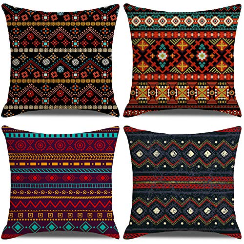 LAXEUYO Pack of 4 Cushion Covers 18x18, Modern Bohemian Style Cotton Linen Decorative Throw Pillow Covers Pillow Cases for Sofa
