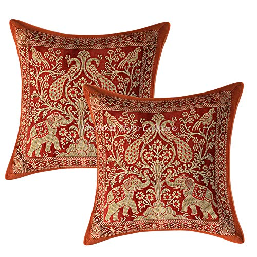 Stylo Culture Ethnic Decorative Cushion Covers 12x12 Inches Set Of 2 Brown Banarsi Brocade Jacquard Brocade Couch Throw Pillow Covers Elephant Peacock 30x30 cm Pillow Cases