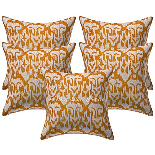 Stylo Culture Cotton Boho Living Room Cushion Covers Mustard Yellow 40cm x 40cm Ikat Sofa Scatter Cushions Kantha Printed 16x16 inches Throw Pillows (Set Of 5)
