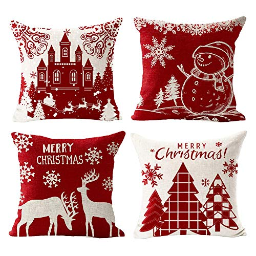 GSPIRIT Christmas Pillow Covers 18 x 18 Inches Set of 4 - Xmas Series Cushion Cover Decorative Throw Pillow Covers for Home Christmas Decor (F)
