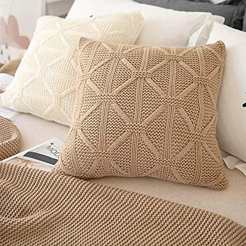KANGNING Cushion Covers pillow cover Cotton Cushion Covers for Sofa outdoor garden bed couch cushionsHandmade wool knitted cotton pillowcase-Khaki Well