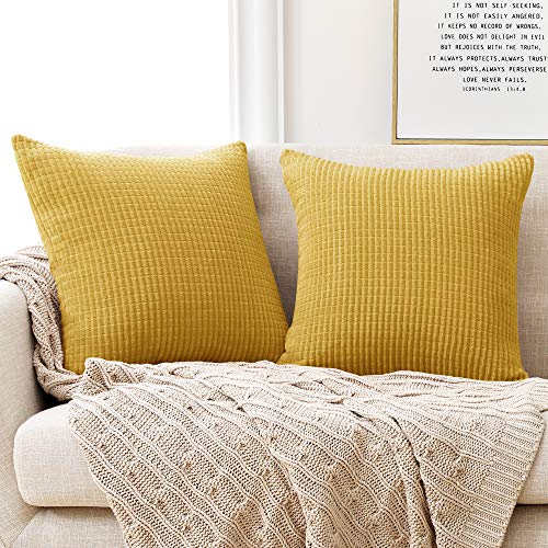 Deconovo Set of 2 Super Soft Solid Cushion Covers, Corduroy Large Cushion Covers 60cm x 60cm, 24x24 Inches Grid Square Throw Pillow Covers for Sofas Seats(Golden, 2 Pieces)
