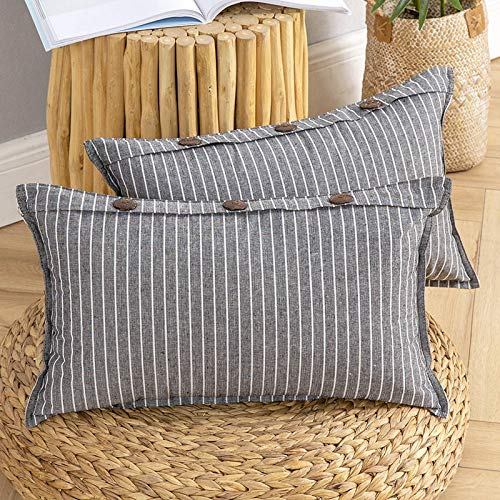 MIULEE Pack of 2 Button Cushion Cover Throw Pillow Case Cross Shape Faux Linen Square Home for Sofa Chair Couch Living Room Bedroom Decorative Black 12 x 20 inch 30cm x 50cm