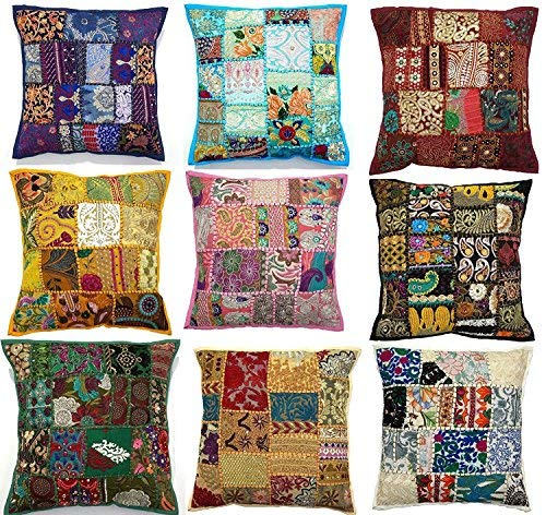 Labhanshi 10pc Embroidered Sari Patchwork Cushion Cover, 17x17 Indian Ethnic Pillow Covers, Handmade Patchwork Cushion Pillow, Sari Patch Throw Pillow