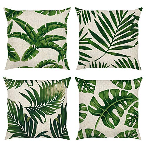 Bonhause Tropical Leaves Cushion Covers 18 x 18 Inch Set of 4 Green Palm Leaves Decorative Throw Pillow Covers Polyester Linen Pillowcases for Sofa Couch Car Bedroom Indoor Outdoor Decor, 45cm x 45cm