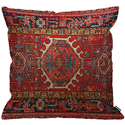 HGOD DESIGNS Red Cushion Cover Antique Oriental Turkish Carpet Pattern Print,Throw Pillow Case Home Decorative for Men/Women Living Room Bedroom Sofa Chair 18X18 Inch Pillowcase 45X45cm