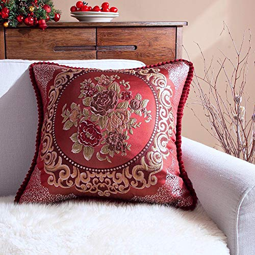 Gothic Rockabilly Large Traditional Woven Floral Square Sofa Cushion Cover (Red, 24x24)