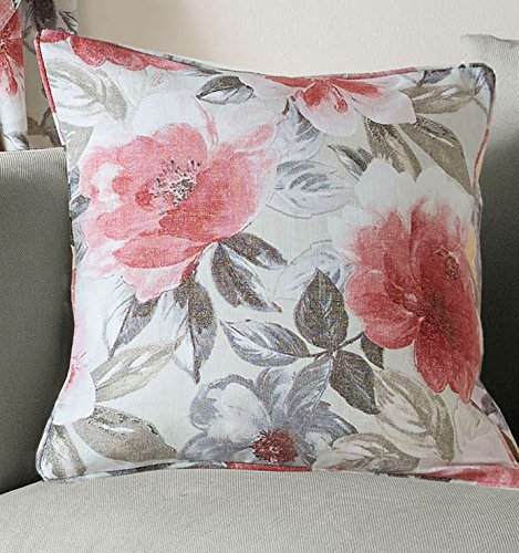 Ashley Wilde Floral Cushion Cover 45x45cm (18x18) Scarlet and Cream Traditional