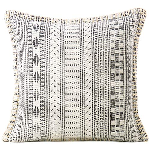 Eyes of India - Boho Dhurrie Printed Colorful Decorative Pillow Cover, Bohemian Throw Cushion Case, Indian Throw Accent, Handmade Chic Decor, White and Grey 16X16 inch, 40X40 cm