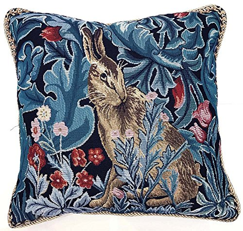 Signare Tapestry Cushion Cover 18 x18 inches 45cm x 45cm Decorative Sofa Cushions with Lion and Forest by William Morris (The Hare, CCOV-ART-MORRIS-4)