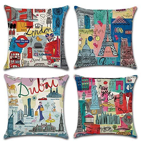 Freeas Set of 4 Travelling Around World Pillow Cases, Throw Cushion Cover Cotton Linen Pillowcase Home Decoration,45x45cm