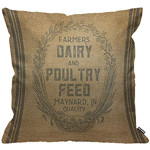 HGOD DESIGNS Cushion Cover Vintage Burlap Feed Sack Throw Pillow Cover Home Decorative for Men/Women/Boys/Girls living room Bedroom Sofa Chair 18X18 Inch Pillowcase