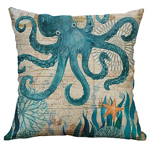 Lialbert Marine Life Coral Sea Turtle Seahorse Whale Octopus Cushion Cover Pillow Cover