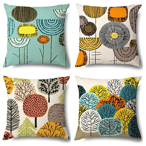 Outdoor Waterproof Cushion Covers,Set of 4 Flower Geometric ArtCotton Linen Throw Pillow Covers, 45x45cm, Suitable for Livingroom Garden, Terrace, Bench, Sofa, Farmhouse Decorative Cushion Covers (B)