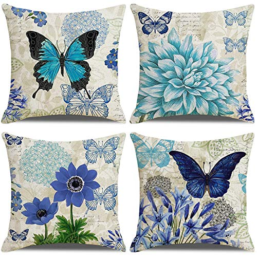 LAXEUYO Pack of 4 Cushion Covers 18x18, Blue Flower Butterfly Pattern Cotton Linen Decorative Throw Pillow Covers Pillow Cases for Sofa